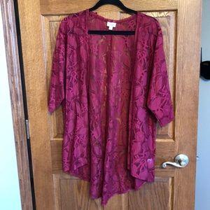 Lularoe Cranberry Lace Medium Lindsay NWOT